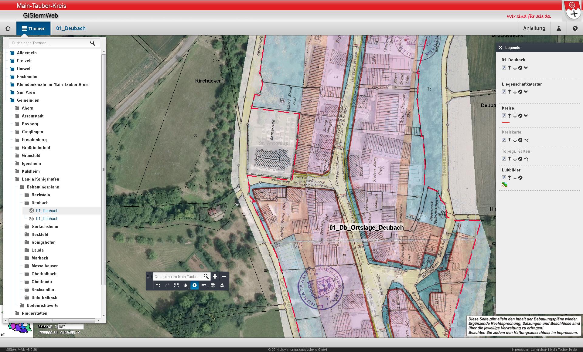 Disy Cadenza Web Buerger GIS Main Tauber Kreis Bebauungsplan