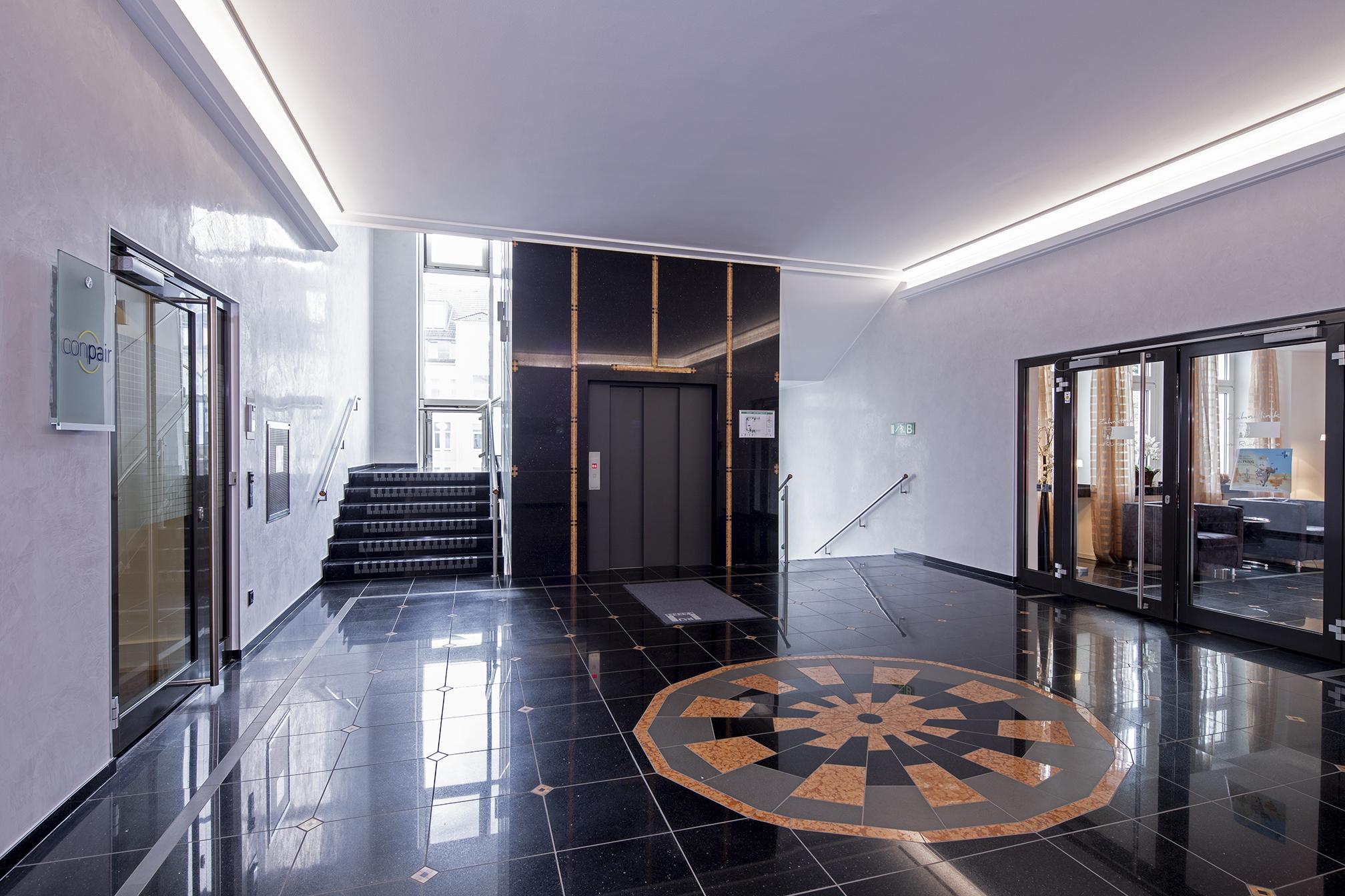 edle optik mit tiefenwirkung im essener r karree caparol farben lacke bautenschutz gmbh. Black Bedroom Furniture Sets. Home Design Ideas
