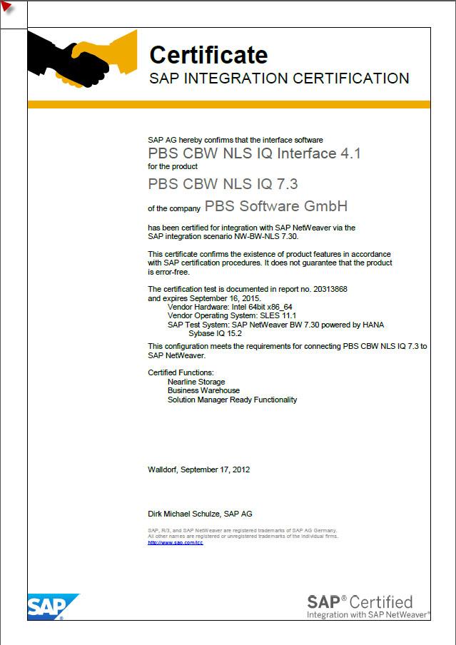 Erste Sap Bw Auf Hana Zertifizierung Von Pbs Software Pbs Software