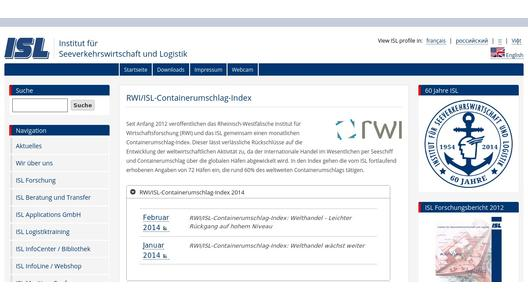 Website of RWI/ISL Container Throughput Index