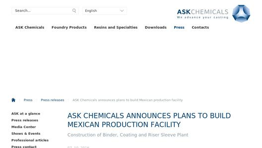 "Weitere Infos zu ""ASK Chemicals announces plans to build Mexican production facility"""