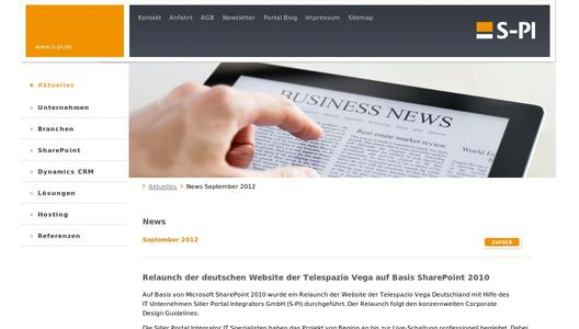 Relaunch der deutschen Website Telespazio Vega auf Basis SharePoint 2010