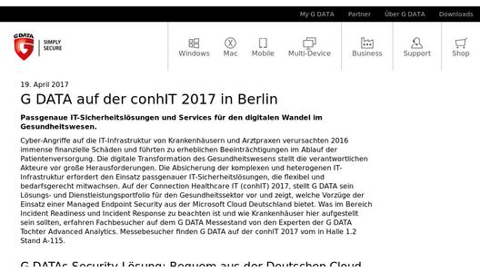 G DATA auf der conhIT 2017 in Berlin