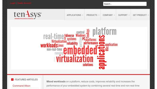 Webpage of Embedded Virtualization Expert TenAsys Corp.