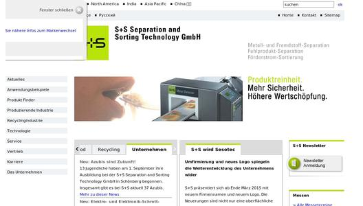Website of S+S Separation and Sorting Technology GmbH.