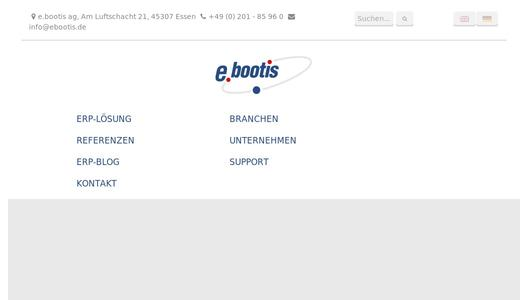 Zur Webseite der e.bootis ag aus Essen - ERP Software made in Germany