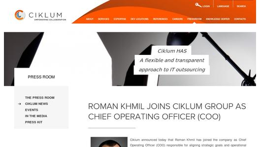 Roman Khmil Joins Ciklum Group as Chief Operating Officer