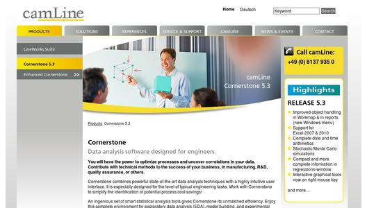 Cornerstone 5.3 on camLine's homepage