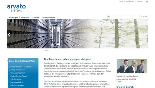 arvato Systems Website zur CO2-Bilanzierung