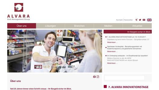 Webseite ALVARA Cash Management Group AG