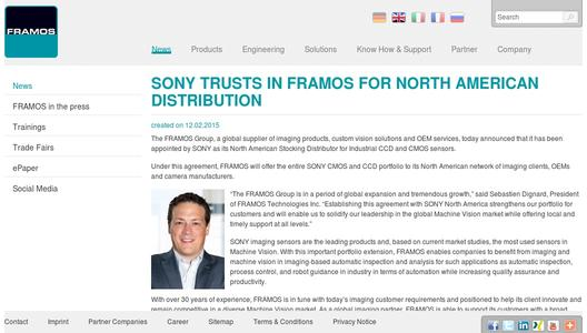 SONY trusts in FRAMOS for North American Distribution