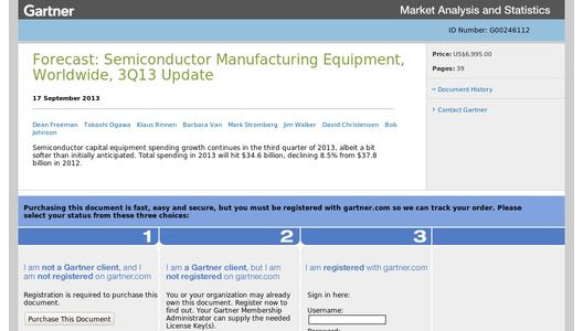 "Weitere Infos zu ""Gartner Says Worldwide Semiconductor Manufacturing Equipment Spending to Decline 8.5 Per Cent in 2013"""
