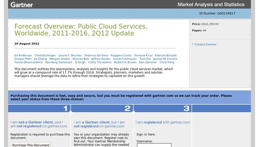 "Weitere Infos zu ""Gartner Says Worldwide Cloud Services Market to Surpass $109 Billion in 2012"""