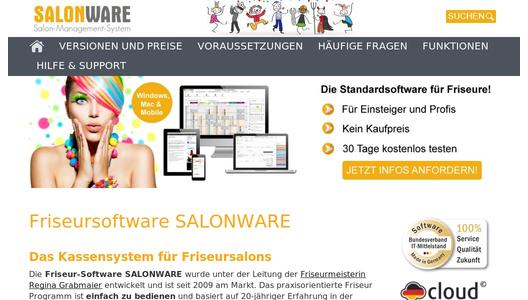 Website zur Friseur-Software SALONWARE