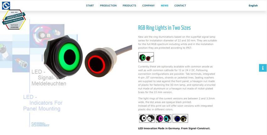 Information about RGB ring lights on www.signal-construct.de