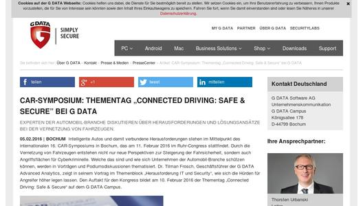 "Weitere Infos zu ""CAR-Symposium: Thementag ""Connected Driving: Safe & Secure"" bei G DATA"""