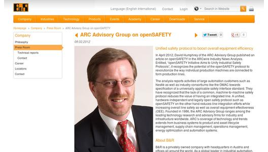 "Weitere Infos zu ""ARC Advisory Group on openSAFETY"""