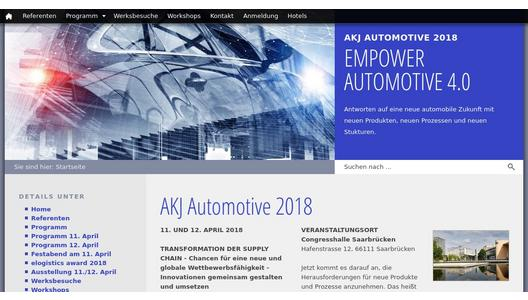 Website 33. Jahreskongress des AKJ Automotive