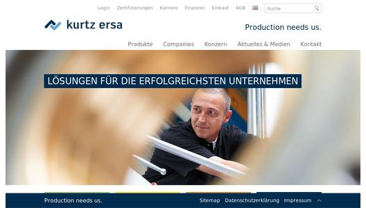 Website des Kurtz Ersa-Konzerns