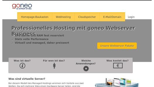 Managed Virtal Server (Managed VPS) Produkte bei goneo