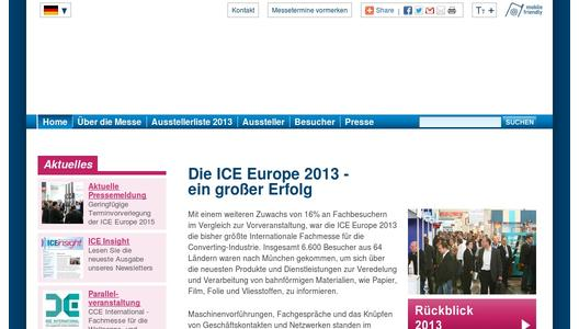 Messewebseite ICE Europe