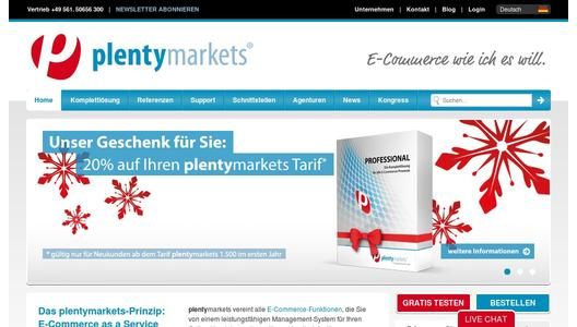 Website der plentymarkets GmbH