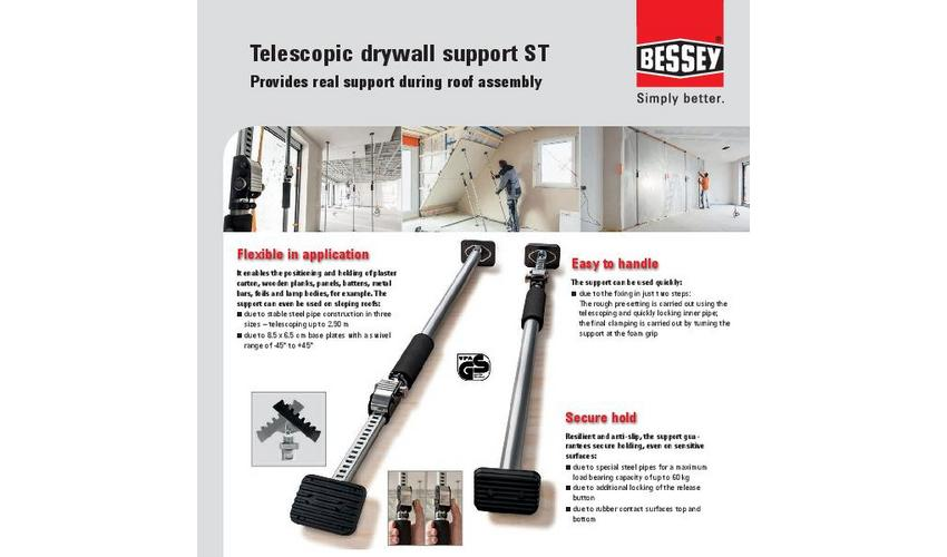 Sales sheet telescopic drywall support ST