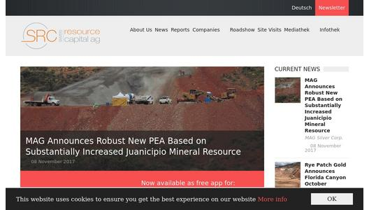 Swiss Resource Capital AG Website