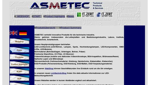 Website Asmetec GmbH