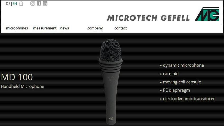 Screenshot Website Microtech Gefell MD 100