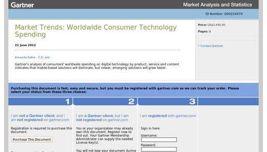 "Weitere Infos zu ""Gartner Says Consumers Will Spend $2.1 Trillion on Technology Products and Services Worldwide in 2012"""