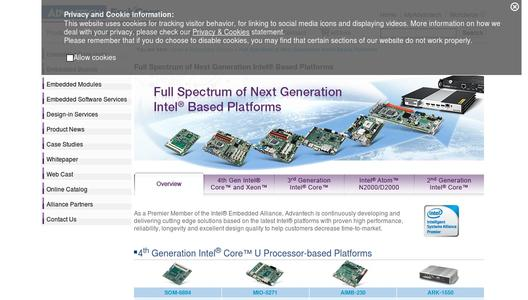 ADVANTECH 4th Generation Intel® Core™ U Processor-based Platforms