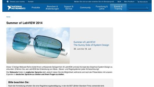 "Weitere Infos zu ""Weeks of Webcasts 2014: Summer of LabVIEW - The Sunny Side of System Design"""