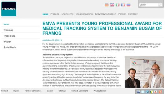 EMVA presents Young Professional Award for medical tracking system