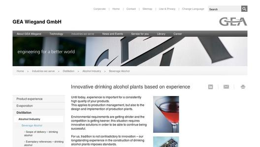 Innovative drinking alcohol plants based on experience
