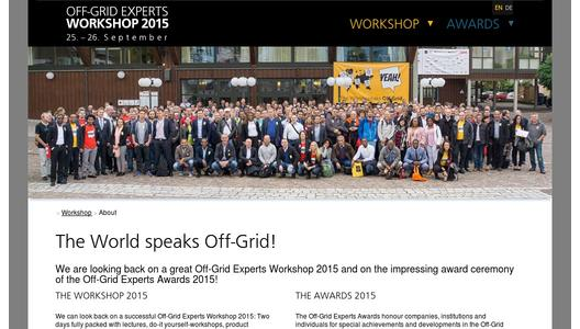 Website Off-Grid Experts Awards and Workshop