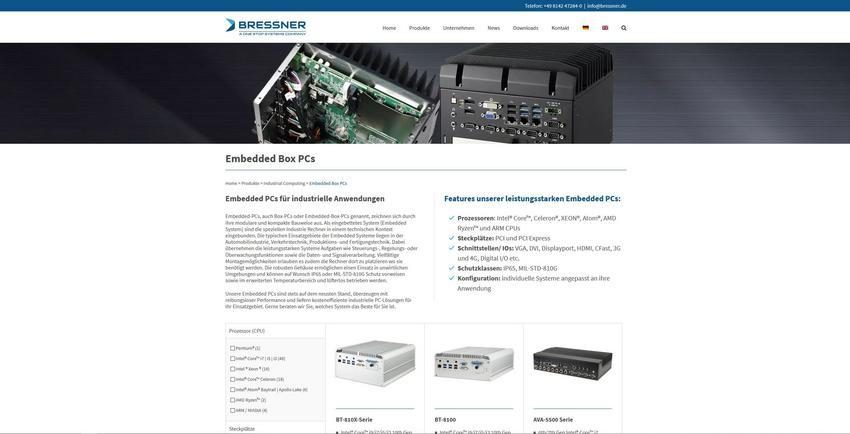 Aktuelle Embedded Box PC Systeme bei Bressner Technology