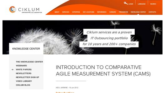 Introduction to Comparative Agile Measurement System