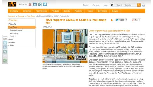 "Weitere Infos zu ""B&R supports OMAC at UCIMA's Packology fair"""