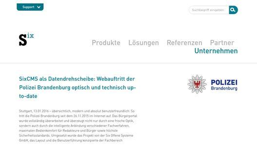 Sixcms Als Datendrehscheibe Webauftritt Der Polizei Brandenburg