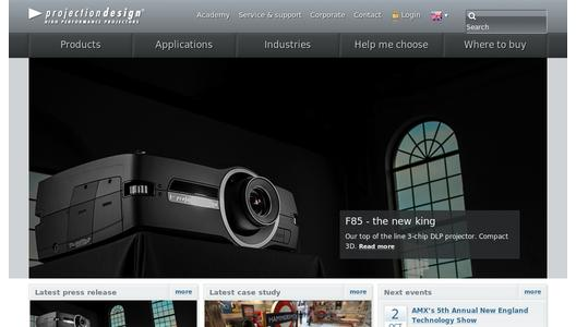 Internationale Website von projectiondesign aus Norwegen