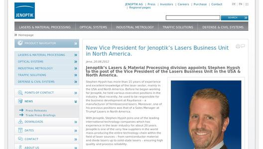 New Vice President for Jenoptik's Lasers Business Unit in North America.