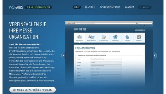 Internetseite der Messesoftware Profairs