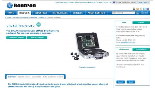 Kontron SMARC Starterkit product page