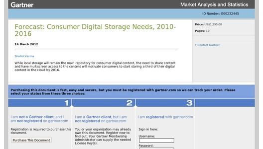 "Weitere Infos zu ""Gartner Says That Consumers Will Store More Than a Third of Their Digital Content in the Cloud by 2016"""