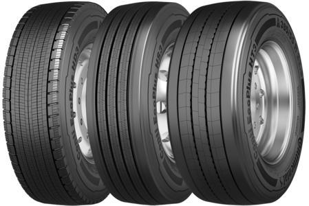 Conti EcoPlus HS3 für die Lenkachse, Conti EcoPlus HD3 für die Antriebsachse und Conti EcoPlus HT3 für Auflieger- und Anhängerachsen. Die neue Conti EcoPlus Reifenfamilie mit einem Kraftstoffsparpotenzial von bis zu 1,9 l auf 100 km