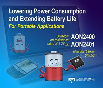 AOS Industry's Best 8V Power MOSFETs AON2400 and AON2401