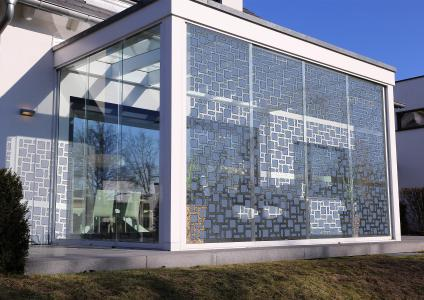 Artist design of an integration of ASCA® components in glass construction elements ©ARMOR-OPVIUS