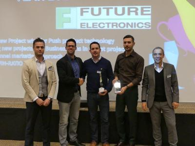 Future Electronics: Max Jakob (Panasonic), Tobias Erthle (Panasonic), Justin Palmer, Olivier Mannina (both Future Electronics), Rudolf Kammerer (Panasonic) (left to right)