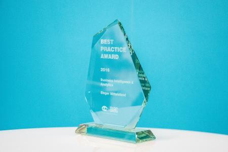 Bild der Trophäe Best Practice Award 2016 – Kategorie Mittelstand / Quelle: BARC